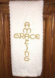 embroidered kitchen dish towel amazing grace family home decor