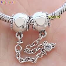 european bracelet chain images S925 sterling silver embossed hearts safety chain charm cz fit JPG