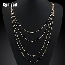 multi gold necklace images 2018 simulated pearl multi layer necklace gold long chain vintage jpg