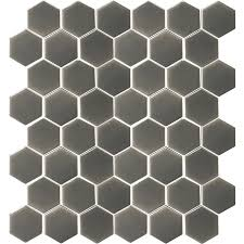 shop allen roth charcoal honeycomb mosaic ceramic wall tile