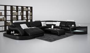 Black Leather Sectional Sofas Divani Casa 6140 Modern Black And White Leather Sectional Sofa