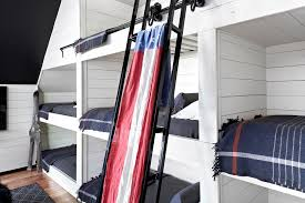4 Bed Bunk Bed Beach Bungalow Kids Room With White Rope Bunk Bed Ladder Cottage