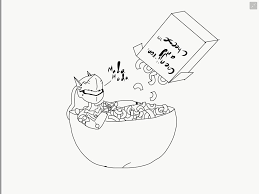 genji in mac n cheese bowl drawing digitalized priginal sketch