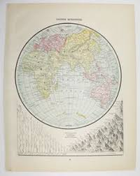 eastern hemisphere map original antique map of world 1876 o w