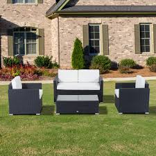 Wicker Patio Table Set Outsunny 4pc Rattan Sectional Patio Furniture Sofa Set Aosom