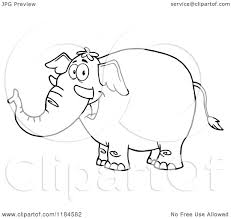 cartoon of a black and white happy elephant royalty free vector