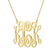 monogram necklace pendant gold monogram necklace 1 25 inch 18k gold plated pendant select