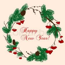 New Year Decoration Vector by Christmas And New Year Decorative Wreath Composed With Pine And