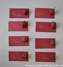 Table Setting Cards - a christmas party tablescape table setting with a deer and