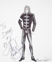 michael jackson signed costume sketch an original marker and