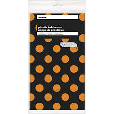 halloween tablecloth amazon com orange u0026 black polka dot halloween plastic tablecloth