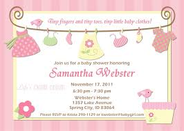 pink invitation card sweet pink baby clothesline themed baby shower invitation card