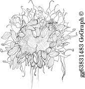 eps vector sunflower pen drawing vector sketch stock clipart