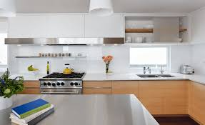 Open Shelves Under Cabinets Kitchen Kitchen With Teracota Color With Knob Also Laminate