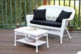 White Wicker Patio Chairs 2 Piece Aurora White Resin Wicker Patio Loveseat And Coffee Table