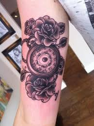 roses and clock tattoo body modification pinterest clocks