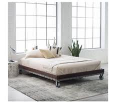 bed platform daybed frame rustic twin wheels modern industrial