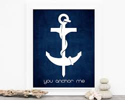 Wooden Anchor Wall Decor Typography Decor Fathers Day You Anchor Me Navy Blue Art Love