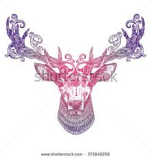 ornamental lilac deer highly stock vector 373849258
