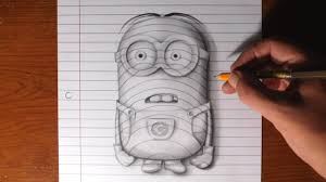 how to draw a minion line paper trick art youtube