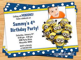 minions kids birthday party invitation printable digital file by