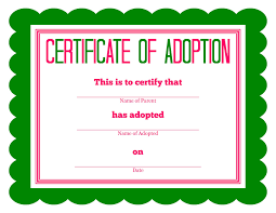 Pet Adoption Certificate Template free printable stuffed animal adoption certificate free printables