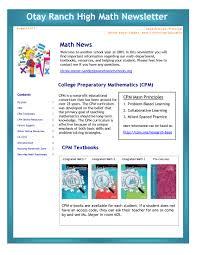 otay ranch high math newsletter