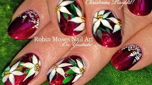 diy christmas nails red poinsettia x mas nail art design