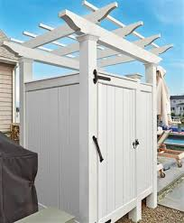 Outdoor Shower Room - sandwich outdoor shower enclosure kit with pergola in azek
