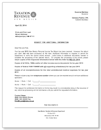 Business Letter Format For Request New Mexico Taxation Revenue Request For Additional Information Letter