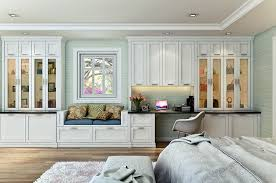 Built In Wall Units For Living Rooms by Custom Shaker Style Bedroom Wall Unit Features A Built In Desk And