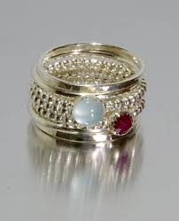 mothers rings pictures images Aquamarine ruby stacking mothers rings personalized rings jpg