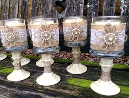 country wedding centerpieces burlap and lace wrapped candle centerpieces for a country wedding