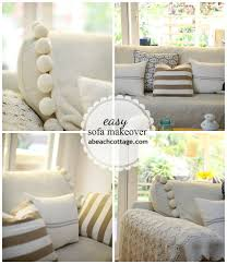 Pillow Covers For Sofa by No Sew Sofa Makeover How To Cover A Sofa With Fabric Drop Cloth