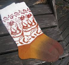knit socks with cat wool socks knitted socks scandinavian pattern