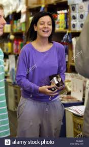 lily allen sporting a new bob haircut shops at a brick a brack