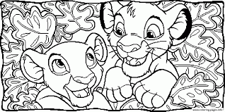 nala and simba between leaves 83a4 coloring pages printable