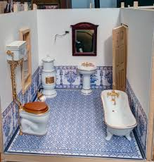 antique german tin bathroom with all bisque doll and accessories