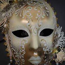 jester mask luxurious venetian jester mask white gold floral