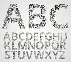 lettering alphabet set letters makes from different fonts letters