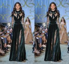 elie saab dark green evening dresses high neck lace sheer long