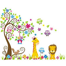 stickers girafe chambre bébé wall decal stickers muraux pour chambre de bébé à motifs jungle avec