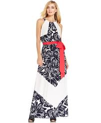 chevron maxi dress vince camuto floral chevron stripe belted maxi dress in blue lyst