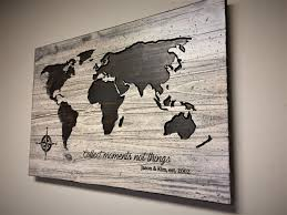 wood wall art looks like reclaimed wood carved world map wooden