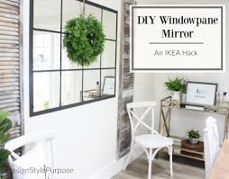 diy windowpane mirror using ikea lots mirror packs and black chalk