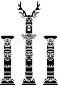 totem pole with a deer skull and indian masks stock vector