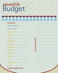 free printable monthly budget worksheet and learning lessons about