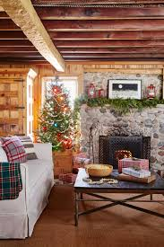 cottage simple christmas interior ideas with stacked wooden