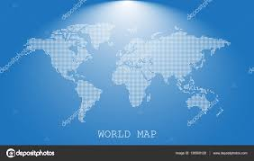 Earth World Map by Dotted Blank White World Map Isolated On Blue Background World