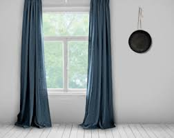 Grey And Blue Curtains Blue Curtains Etsy
